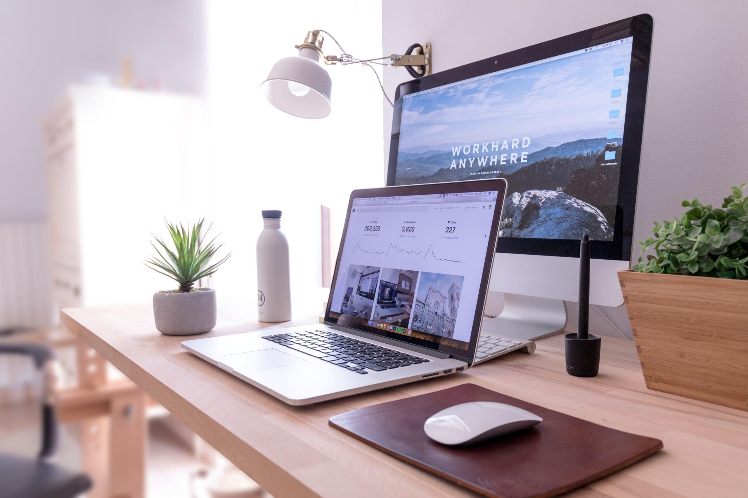 website on desktop and laptop